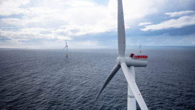 Floating turbines at the Hywind Scotland project in the North Sea.