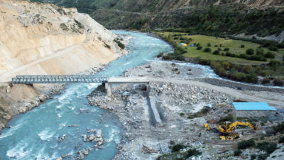 A bridge under construction across the Karnali River near the village of Tumkot, Nepal in October 2018.