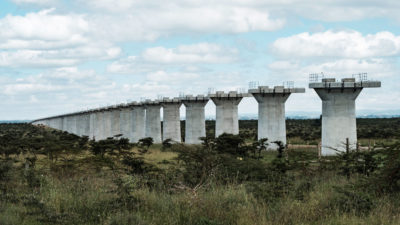 Construction of the second phase of the Chinese-financed Standard Gauge Railway in Kenya crosses through Nairobi National Park, as pictured here in June.