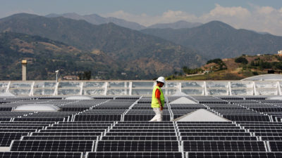 Solar panels cover the roof of a Sam's Club store in Glendora, Calif.