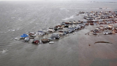 Flooded homes in Ocean County, New Jersey after Superstorm Sandy in October 2012.