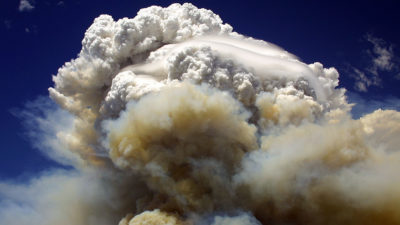A pyrocumulonimbus cloud forms over the Willow Fire near Payson, Arizona in July 2004.