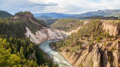 The Yellowstone River as it flows through Yellowstone National Park in Wyoming.