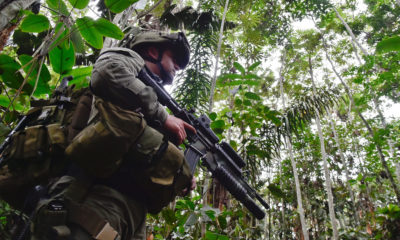 A government soldier on patrol in a former area of intense fighting in Guaviare in southern Colombia.