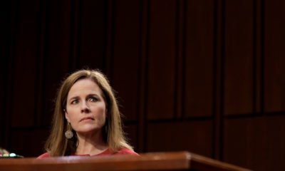 Amy Coney Barrett testifies before the Senate Judiciary Committee during her Supreme Court confirmation hearing on October 13.