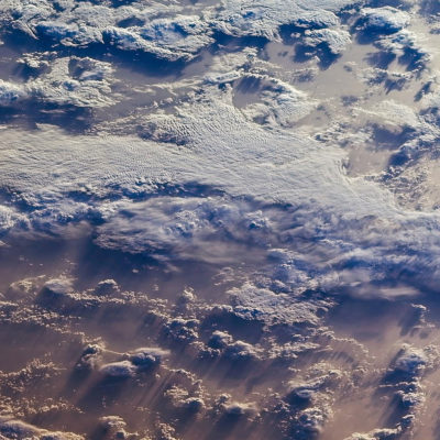 Clouds over the southern Indian Ocean, captured by NASA's Terra spacecraft.