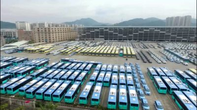New electric buses waiting to be deployed in Shenzhen.