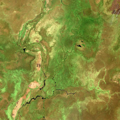 A satellite view of the Sudd wetland in South Sudan, where rising temperatures are resulting in a spike in methane emissions.