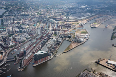 Hamburg's HafenCity is partially protected against storm surges and rising seas. The area encompasses the islands in the right two-thirds of photo.