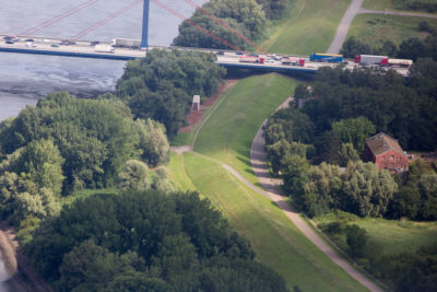 A dike in the Wilhelmsberg section of Hamburg, where some areas are 22 feet below sea level.