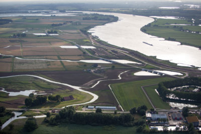 "A so-called ""room for the river"" project in the Netherlands that uses floodplains to prevent flooding in Rotterdam and Dordrecht."