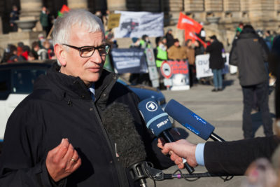 Environmentalist Jürgen Resch at an anti-diesel protest in Leipzig in February.