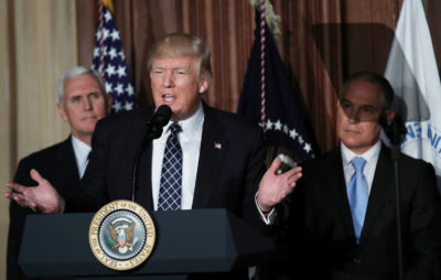 President Trump at the signing of his executive order on energy independence March 28, 2017.