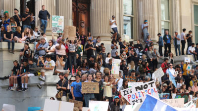 Thousands of New York City students gather in Lower Manhattan to demand action on climate change in September 2019.