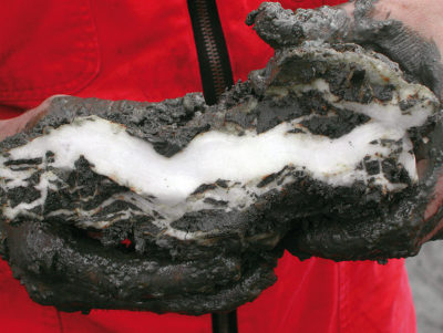 A piece of methane hydrate found by U.S. scientists off the coast of Oregon.