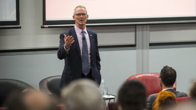Former Congressman Bob Inglis at a recent talk on why conservatives should support climate action.