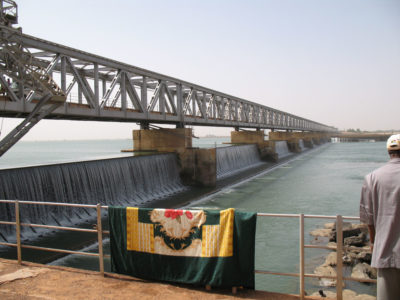 The Markala Barrage in Mali, which diverts water from the River Niger for irrigating crops such as rice and cotton.