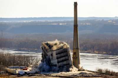 Demolition of the coal-fired Nelson Dewey Generating Station in Cassville, Wisconsin in December 2017. The power plant closed in 2015.