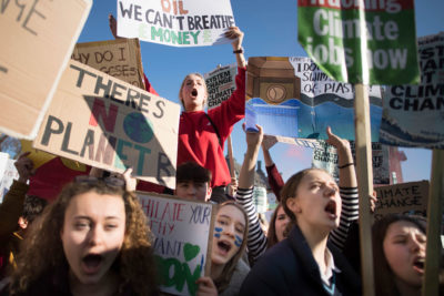 Youth activists at a climate rally in London on February 15, 2019.