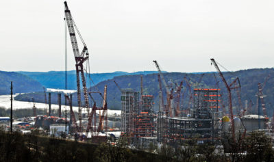 Shell Chemical Appalachia's ethane cracker facility under construction in Monaca, Pennsylvania in April 2019.