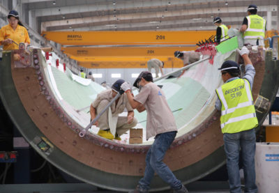 A wind turbine blade being built at a manufacturing plant in Haimen, Jiangsu province, China in 2019.
