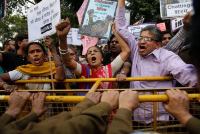 Activists protest India's sterilization policies in New Delhi in 2014, after more than a dozen women died from botched procedures in the state of Chhattisgarh.