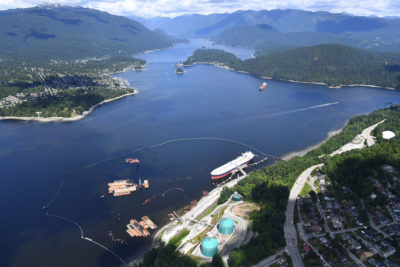 Shipping traffic to Trans Mountain's marine terminal [in foreground] in Burnaby near Vancouver is expected to increase from four oil tankers per month to 34.