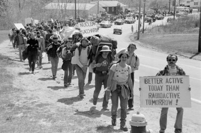 Anti-nuclear activists protest the construction of a nuclear power station in Seabrook, New Hampshire in 1977.