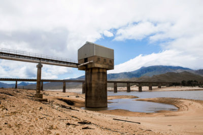 The Theewaterskloof dam, Cape Town's main water supply with a capacity of nearly 17 billion cubic feet, photographed on January 23, 2018. In late February, its reservoir's level fell to 11 percent.