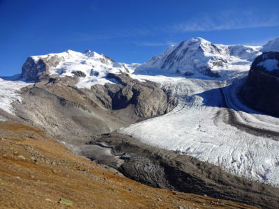 The Gorner Glacier in Switzerland, the second largest glacier in the European Alps, at the end of summer in 2017.