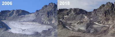 The shrinking of the Pizol Glacier in Switzerland between 2006 and 2018. Scientists say this small glacier is very likely to disappear in the near future.