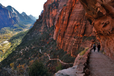 Hikers near Angels Landing in Zion National Park, one of the areas that could institute higher entrance fees under a proposed policy by the Park Service.