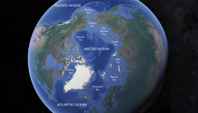 The Arctic Ocean, and its connections to the Pacific and Atlantic oceans.