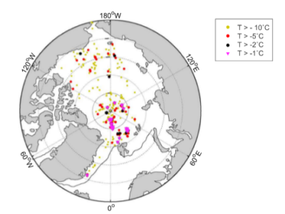 Observed Arctic winter warming events.