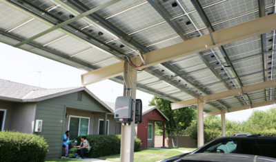 Newly installed carport solar arrays will soon be providing electricity to the low-income residents of the Casas de la Viña complex.