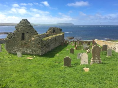 The medieval church of St. Mary's Kirk on Rousay Island, another example of Orkney coastal archeology at risk because of climate change.