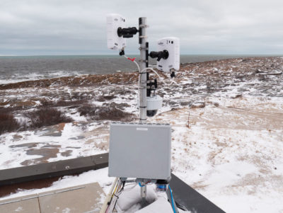 The BEARDAR radar system being tested near the shores of Hudson Bay.