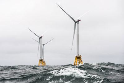The Block Island Wind Farm, the first and only offshore wind facility in the U.S., located off the coast of Rhode Island.