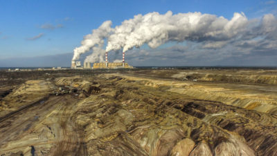 The Bełchatów mine and power plant. The mine is the largest coal reserve in Poland, with an estimated 1,930 million tons of lignite coal available.