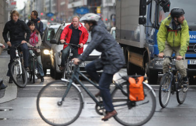 A lack of bicycle infrastructure, such as bike lanes and storage racks, has hampered efforts to boost vehicle-less travel in Berlin (above) and other German cities.