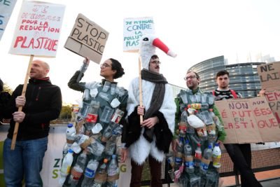Protestors outside the European Parliament in Strasbourg, France ahead of a vote to ban single-use plastic items in October 23, 2018.