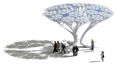 The Treepods concept (above) is one of various carbon-capture technologies that act like artificial trees, sucking CO2 from the air through their canopies.