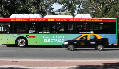 An electric bus circulates in Buenos Aires in May as part of a yearlong pilot test.