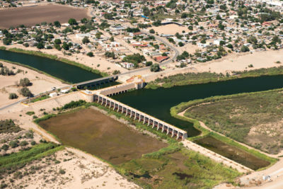 The Morelos Dam at the U.S.-Mexico border is the last major diversion of Colorado River water, channeling water for the city of Mexicali and agricultural users in Mexico.