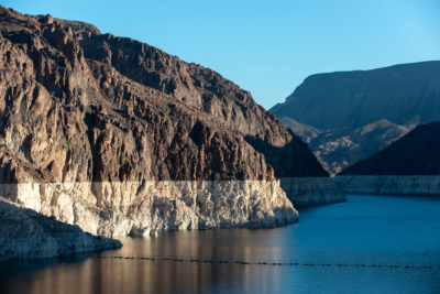 A white ring around the 112-mile perimeter of Lake Mead shows how far water levels have dropped because of drought conditions that have persisted since 2000.