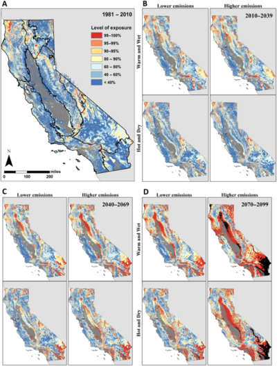 CLICK TO ENLARGE - The climate exposure of 30 California vegetation types under the current time (A) and three future periods: (B) 2011-2039, (C) 2040-2069, and (D) 2070-2099. Red and orange areas above 95 percent are most at risk.