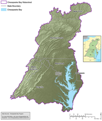 The 64,000-square-mile Chesapeake watershed extends into six states.