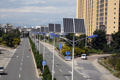 Solar panels in Dali City, Yunnan, People's Republic of China.