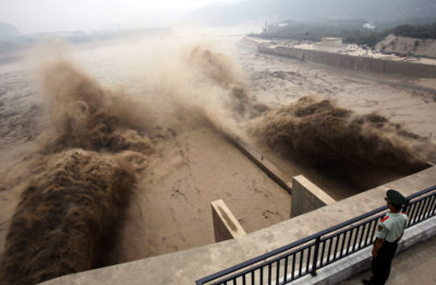 Portals on the Xiaolangdi Dam on China's Yellow River enable sediment to be discharged downstream.