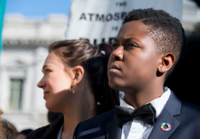 """This is about my future and the … fundamental constitutional rights of children,"" says 19-year-old Vic Barrett (right), of White Plains, New York, shown here next to lead plaintiff Kelsey Juliana."